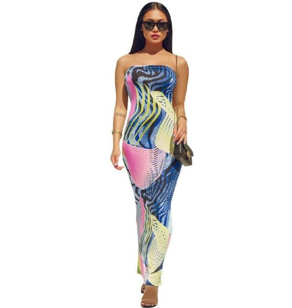 Spring and summer 2019 new product, fashionable African style, chest wrap digital print skirt,