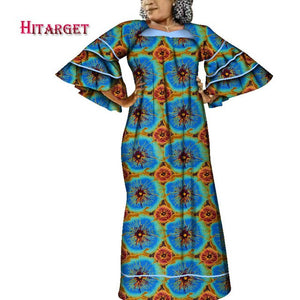 Hitarget african print dresses african dresses with Bell sleeves african clothing Dashiki women clothes cotton big size WY3937