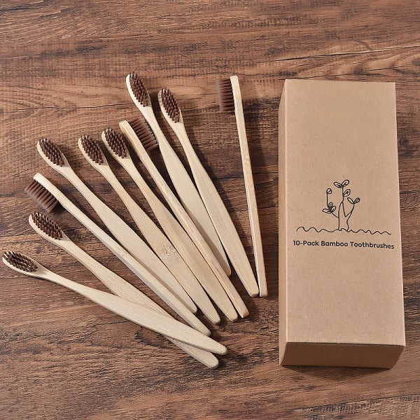 Eco Friendly mixed color wooden Tooth Brush w/Soft bristle Tip Charcoal