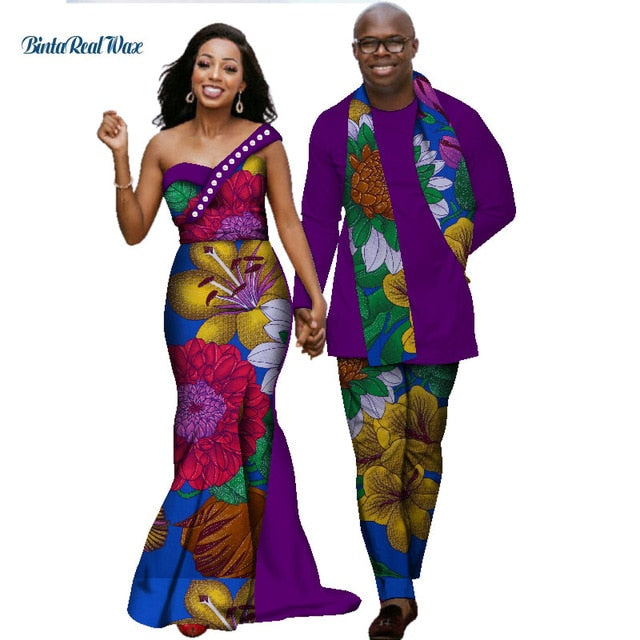 African Dresses for Women Bazin Riche Mens Shirt and Pants Sets Lover Couples Clothes Print Long Dress African Clothing WYQ139