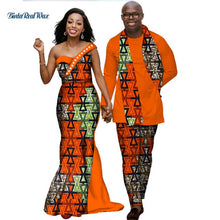 Load image into Gallery viewer, African Dresses for Women Bazin Riche Mens Shirt and Pants Sets Lover Couples Clothes Print Long Dress African Clothing WYQ139
