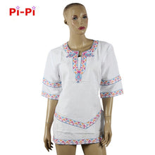 Load image into Gallery viewer, SALE African Dashiki Riche Traditional Embroidery Dress Short Sleeved Short Skirt Natural Linen Material Production