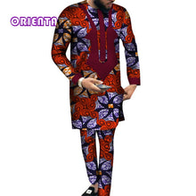Load image into Gallery viewer, Fashion Men Clothes Long Sleeve Shirt Gown and Pants Set Traditional African Bazin Riche Print Tops Gown and Trousers WYN540