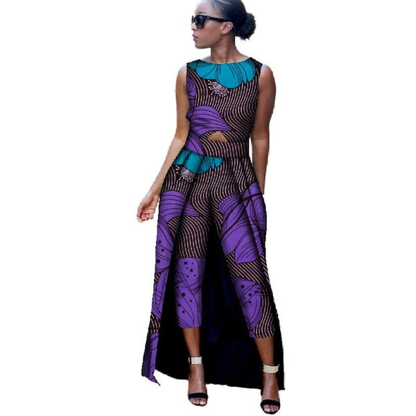 African Clothes for Women 2019 Sleeveless Top and Mid Calf  Trousers 2 Pieces Sets  Danshiki Bazin Riche Ladies Clothing