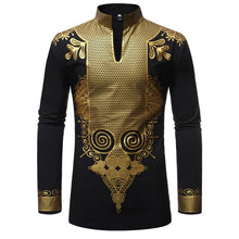 Load image into Gallery viewer, Black African Dashiki Print Shirt Men 2019 Fashion Hip Hop Streetwear Afrian Clothes Men Slim Fit Long Sleeve Shirt Male Chemise