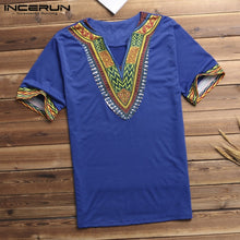 Load image into Gallery viewer, INCERUN Fashion Men Dashiki T Shirt V Neck Print Tops African Ethnic Short Sleeve Brand T-shirts Men African Clothes 2019 S-5XL
