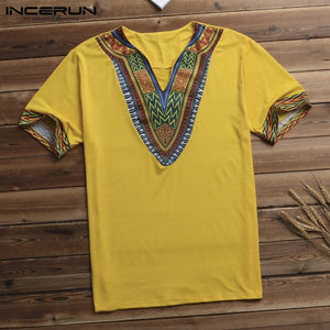 INCERUN Fashion Men Dashiki T Shirt V Neck Print Tops African Ethnic Short Sleeve Brand T-shirts Men African Clothes 2019 S-5XL