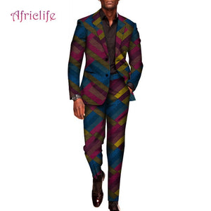 Custom 2 Pieces Pants Sets Mens African Clothing Bazin Riche African Wax Print Top Suits and Pants Sets Ankara Clothes WYN602