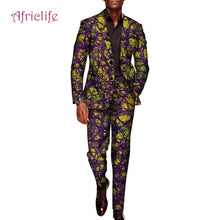 Load image into Gallery viewer, Custom 2 Pieces Pants Sets Mens African Clothing Bazin Riche African Wax Print Top Suits and Pants Sets Ankara Clothes WYN602