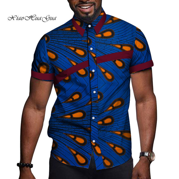 African Men Clothes Bazin Riche Print Causal Party Men Short Sleeve Tops Tees Shirt Dashiki Ankara WYN714