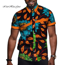 Load image into Gallery viewer, African Men Clothes Bazin Riche Print Causal Party Men Short Sleeve Tops Tees Shirt Dashiki Ankara WYN714