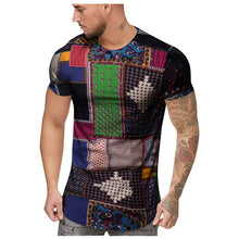 Load image into Gallery viewer, African Clothes Fashion Mens Summer Slim Fit African Print O-Neck Short Sleeve Shirt dashiki