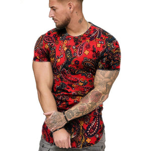 African Clothes Fashion Mens Summer Slim Fit African Print O-Neck Short Sleeve Shirt dashiki