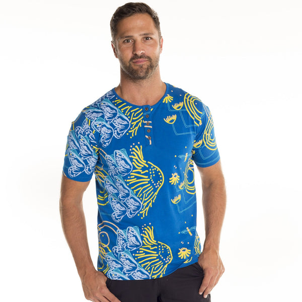 Mens Printed Bamboo T-shirt Henley Collar