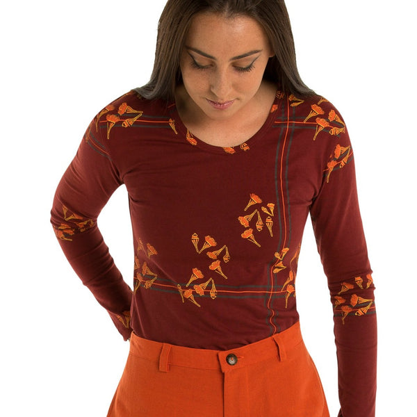 Long Sleeved Top - bamboo and organic cotton - Printed