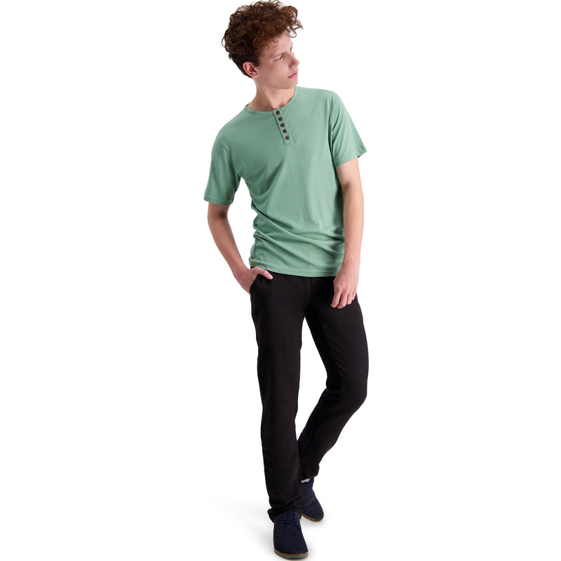 Mens Short Sleeve Bamboo T-shirt Henley Collar - Plain