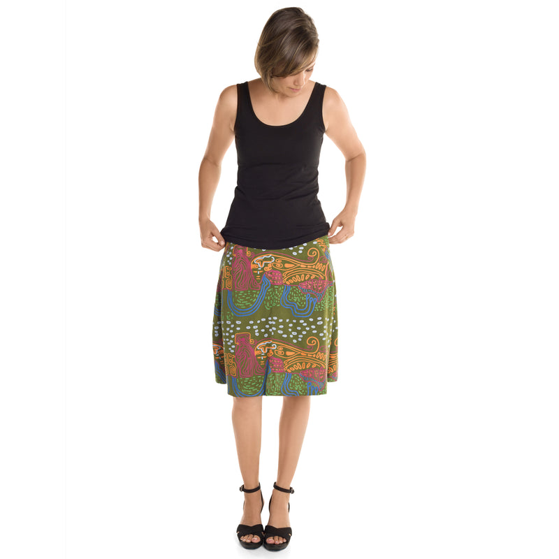 Knee Length A-line Skirt Printed