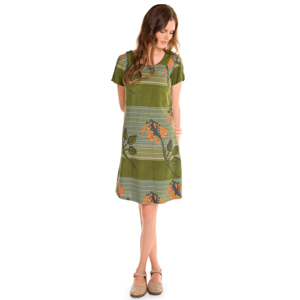 Printed Shift Dress - Melon