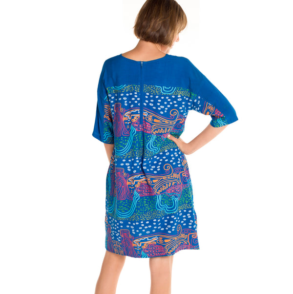 Loose Panelled Dress - Mount Coolum Print