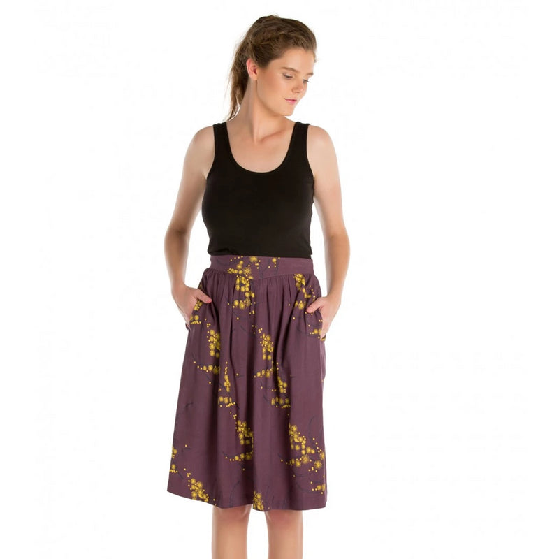 Knee Length Gathered Skirt Printed