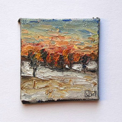 Sunset over the Hayfield - Mini Painting