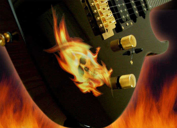 Real Fire Flame-Skull Inlay Stickers Decals Guitar Bass - Inlay Stickers Jockomo