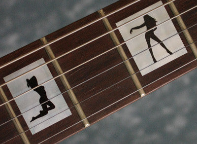 Stripper Girls Silhouette in Block Fret Markers Inlay Stickers Decals Guitar - Inlay Stickers Jockomo