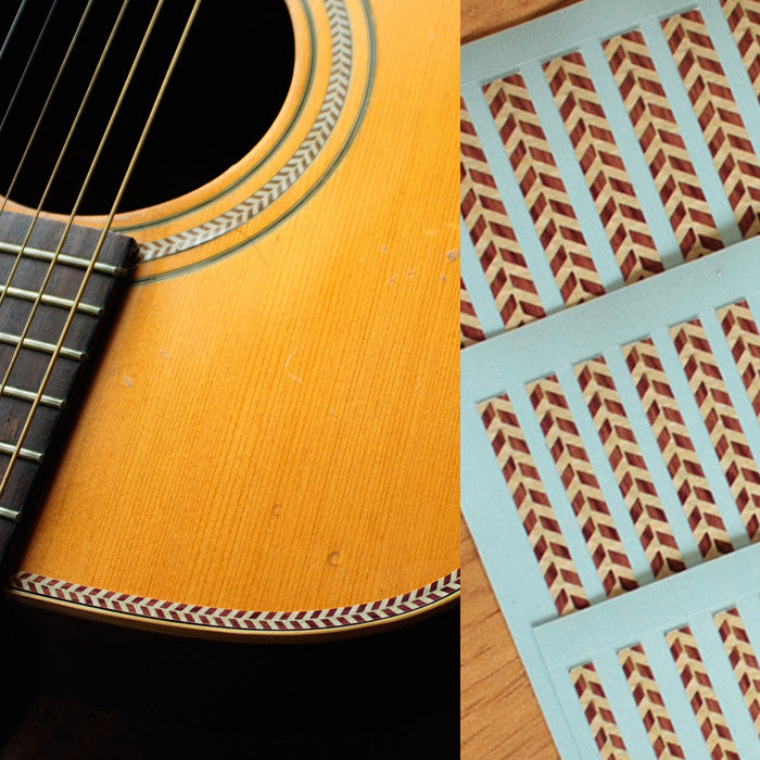 Binding Sticker Decal Woody Herringbone For Body Guitar