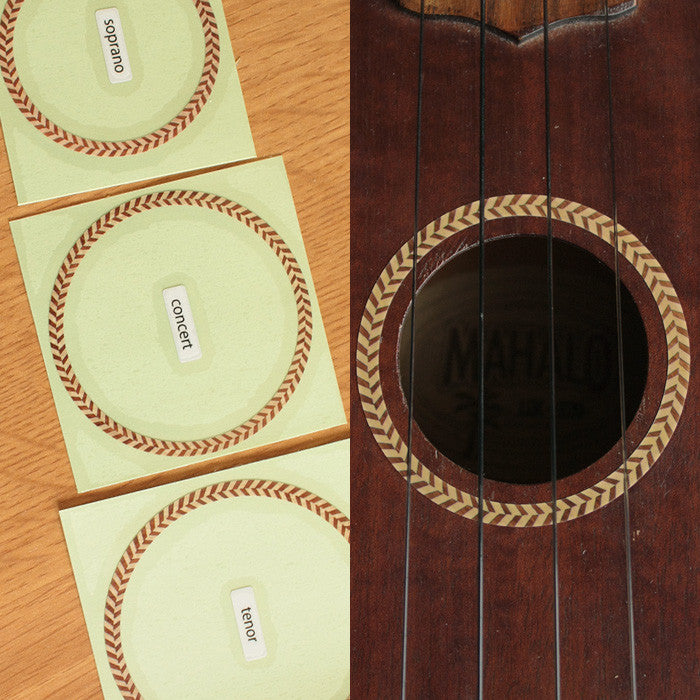 Ukulele Rosette (Woody-Herringbone) Purflinng  Inlay Sticker Decal