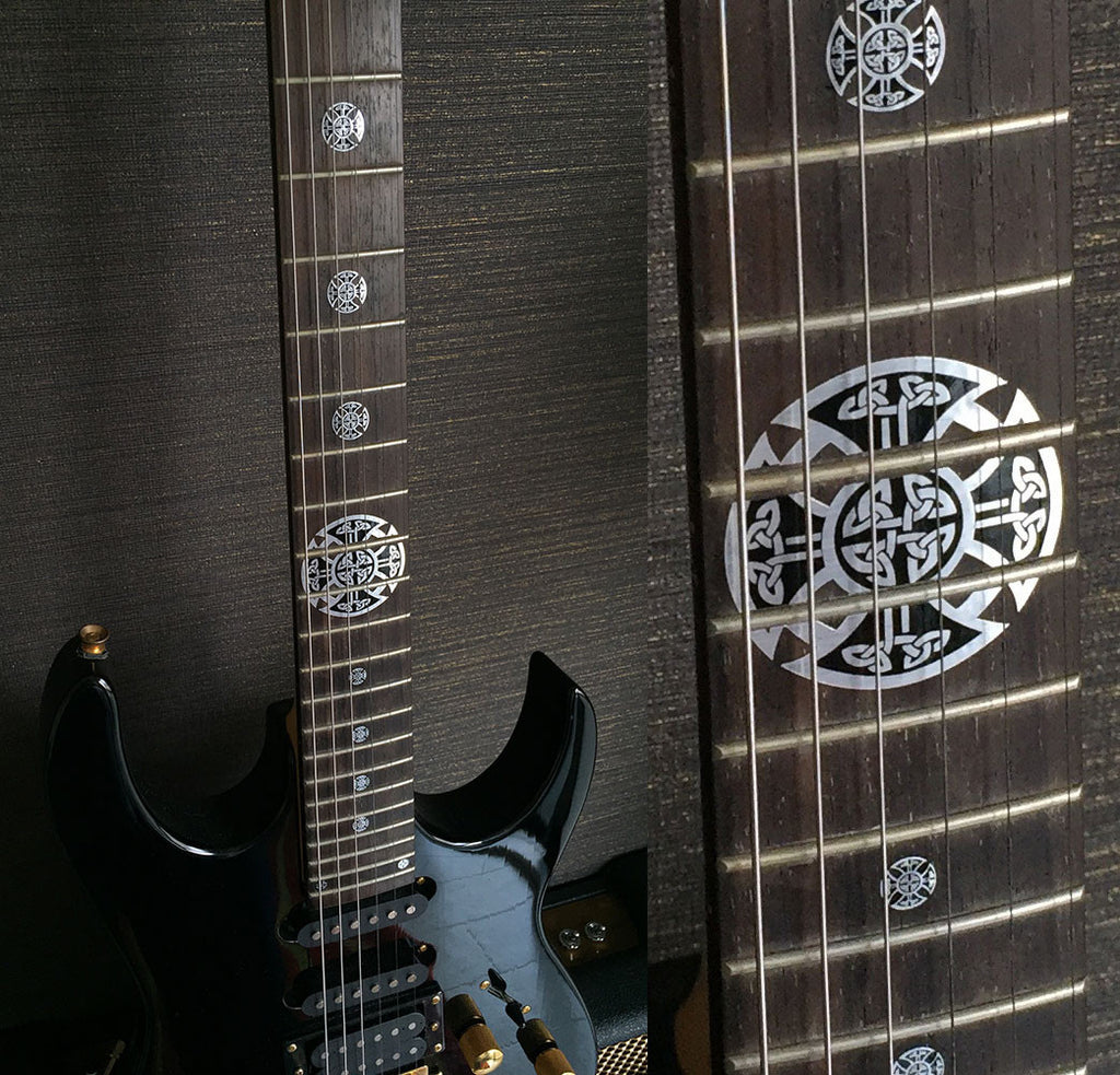 Celtic Cross (Metallic) - Emblem 12th Fret Markers Inlay Stickers Set - Inlay Stickers Jockomo