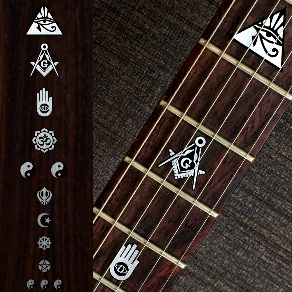 Religion Symbols Fret Markers Metallic Inlay Sticker Guitar & Bass