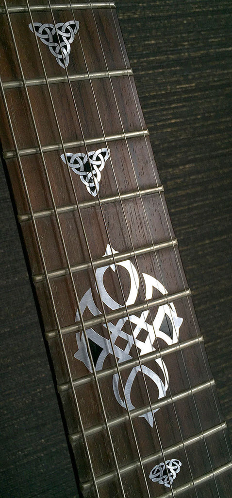 Emblem 12th Fret Markers Set - Celtic Triangle Knot Metallic - Inlay Stickers Jockomo