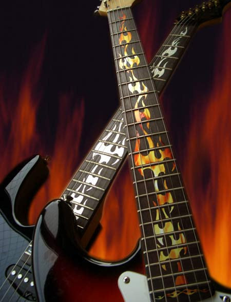 Fire Flames Fret Markers Inlay Stickers Decals Guitar