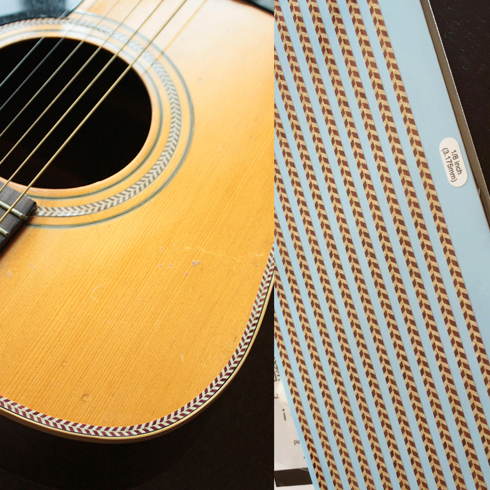 Rope Binding Sticker Decal Woody Herringbone For Guitar