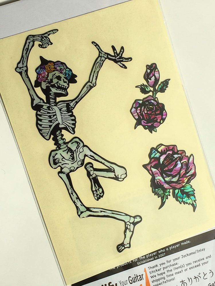 Grateful Dead Dancing Skull & Roses / Happy Skeleton Inlay Sticker - Inlay Stickers Jockomo