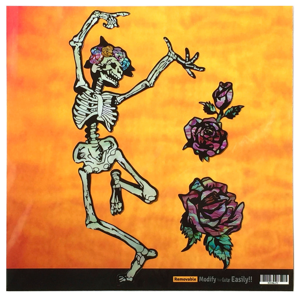 Grateful Dead Dancing Skull & Roses / Happy Skeleton Inlay Sticker