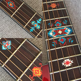 Native American Style Ethnic Pattern Fret Markers For Guitar (turquoise)