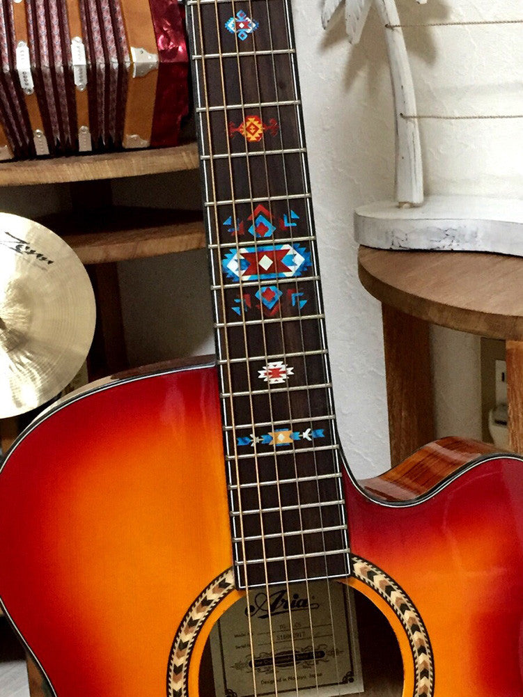 Native American Style / Ethnic Pattern - Fret Markers Inlay Stickers for Guitar (Turquoise) - Inlay Stickers Jockomo