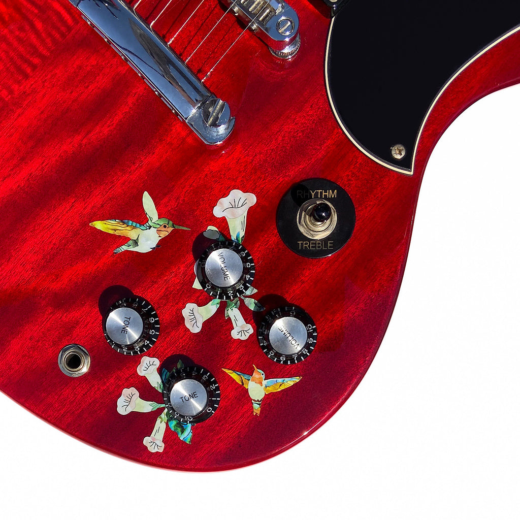 Birds & Blooms (Hummingbirds) - Volume & Tone Knobs Decals - Inlay Stickers Jockomo