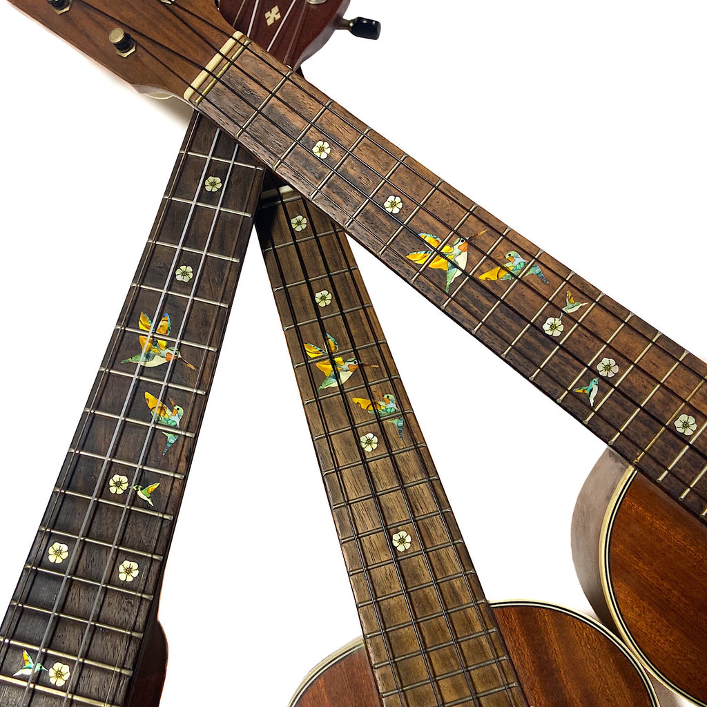 Bee Hummingbirds - Fret Markers for Ukuleles - Inlay Stickers Jockomo