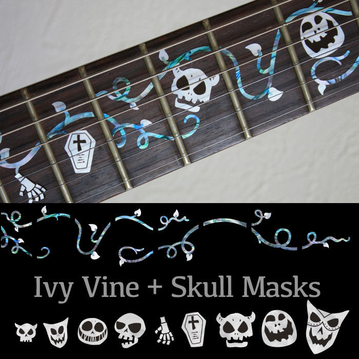 Ivy Vine with Skull Masks - Fret Markers Inlay Stickers for Guitars - Inlay Stickers Jockomo