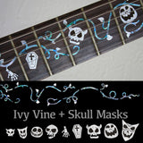 Ivy Vine with Skull Masks Fret Markers Inlay Sticker Guitar