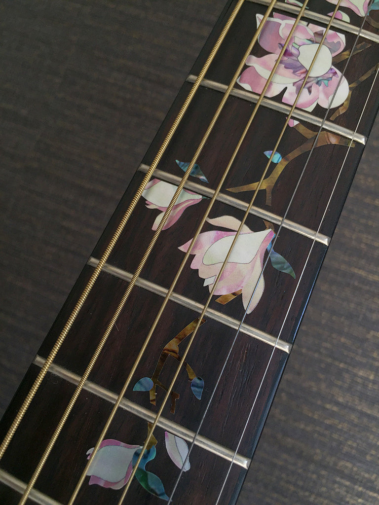 Magnolia Tree with Pink Flowers Fret Markers Inlay Sticker For Guitar - Inlay Stickers Jockomo
