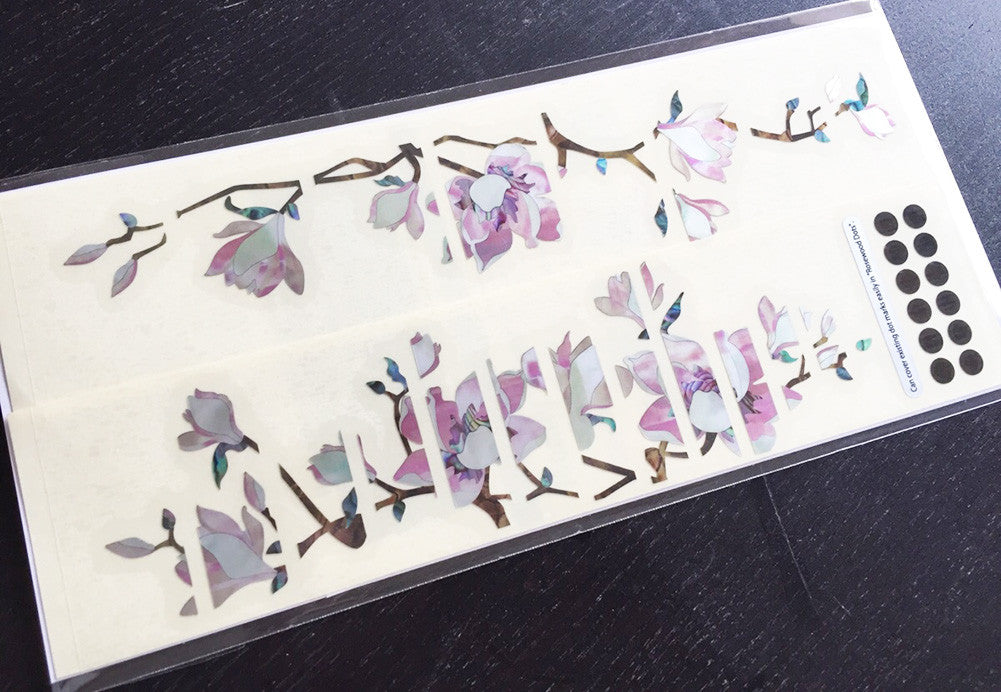 Magnolia Tree with Pink Flowers - Inlay Stickers Jockomo