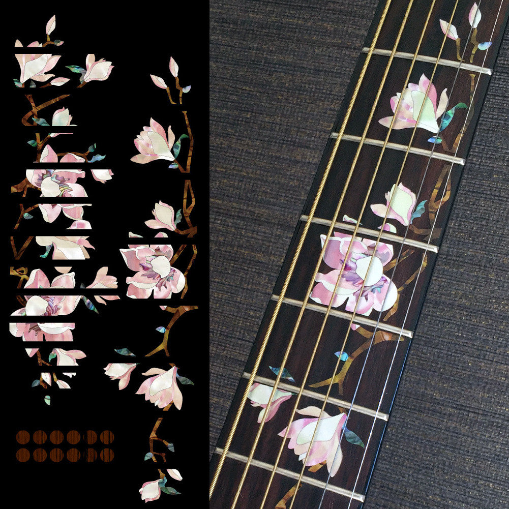 Magnolia Tree with Pink Flowers - Fret Markers Inlay Stickers for Guitars - Inlay Stickers Jockomo