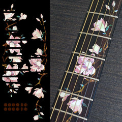 Magnolia Tree with Pink Flowers Fret Markers Inlay Sticker For Guitar