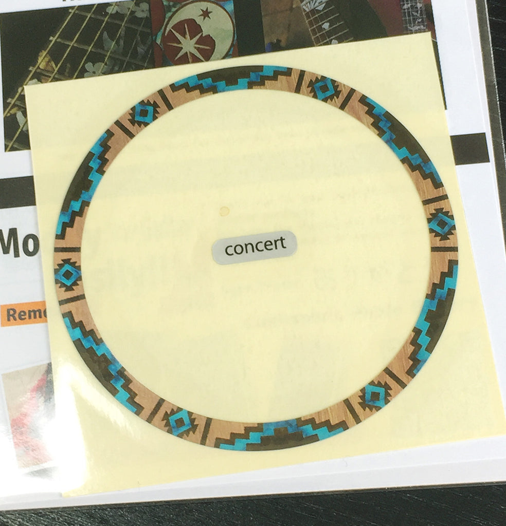 Native American Style Ethnic Pattern (Natural) - Soundhole Rosette / Purfling for Ukuleles - Inlay Stickers Jockomo