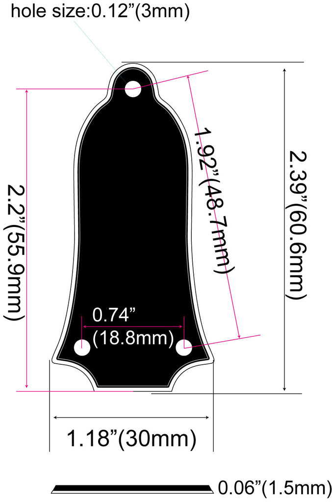 Notched Type 3-Hole Custom Engraved Truss Rod Cover