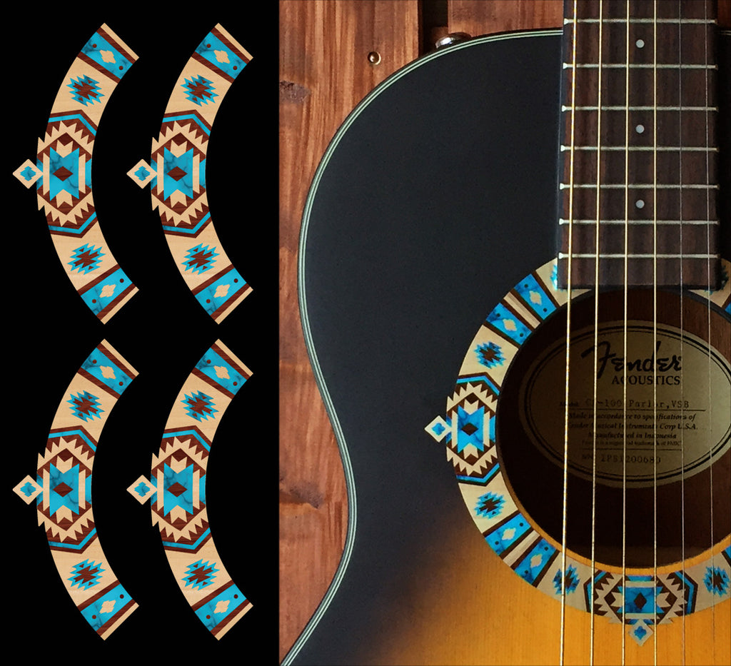 Native American Style Ethnic Pattern Purfling (Natural) Sound hole Inlay Sticker For Guitar - Inlay Stickers Jockomo