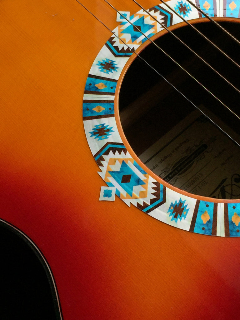 Native American Style Ethnic Pattern Purfling (Turquoise) Sound hole Inlay Sticker For Guitar - Inlay Stickers Jockomo